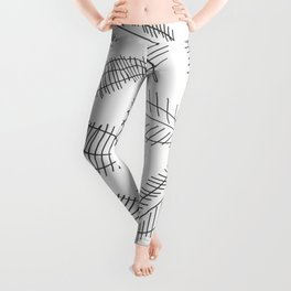 Feather Leaves in Black White Leggings
