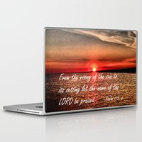 bible verses Laptop & iPad Skins featuring Bible Scripture Psalm 113:3 by Saribelle Inspirational Art