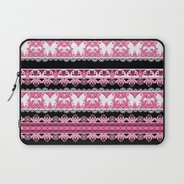 Black and pink striped pattern . Laptop Sleeve