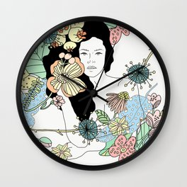 Flower Maiden Blossom Wall Clock