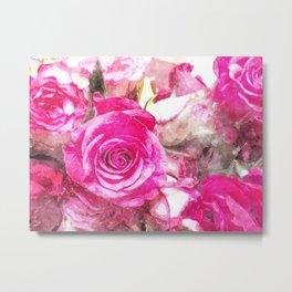 Bunch of Pink roses (watercolour) Metal Print