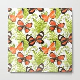 Ferns and Butterflies Metal Print