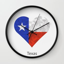 Texas flag heart in geometric,mosaic polygonal style.Love to country and state. Wall Clock