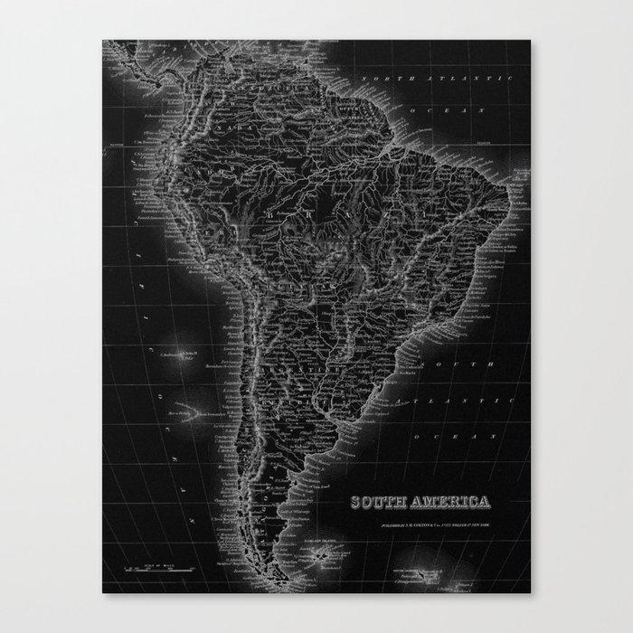 South America Antique Map Canvas Print