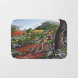 Wild Turkeys, Rural Appalachian Country Life Landscape, Turkey Art Bath Mat
