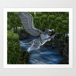 White Tiger Griffin Art Print