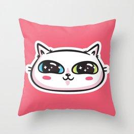 Starry Eyed Cat Throw Pillow
