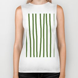 Simply Drawn Vertical Stripes in Jungle Green Biker Tank