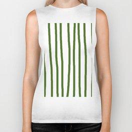 Simply Drawn Vertical Stripes in Jungle Green Biker Tank