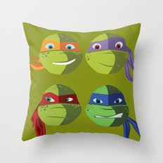 Teenage Mutant Ninja Turtles Vector Art Throw Pillow
