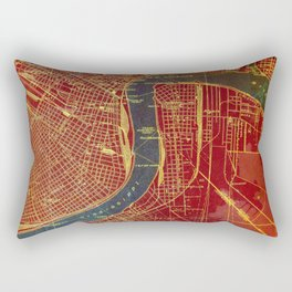 New Orleans Louisiana 1932 vintage old beautiful map for bar decoration Rectangular Pillow