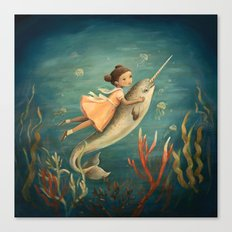 Narwhal Girl by Emily Winfield Martin Canvas Print