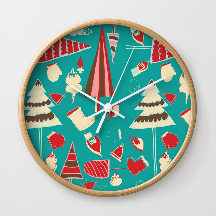 Vintage Christmas Teal Wall Clock