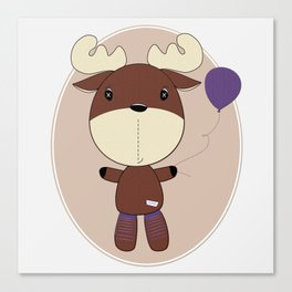 Moose with Balloon Canvas Print