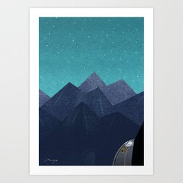 Mountain path at night Art Print