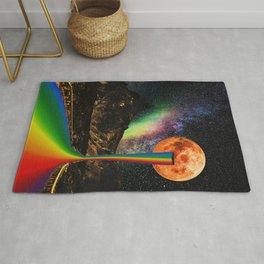 Moon Pride - Pride Month Surreal Rainbow - Digital Collage Artwork Rug