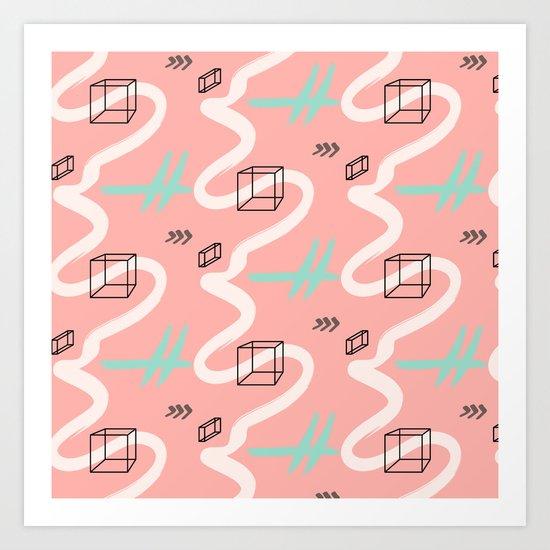 rectangles vs coral lines Art Print