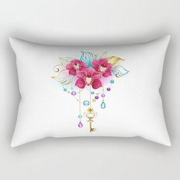 Pink Orchid with Key Rectangular Pillow