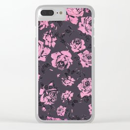 Blush Pink and Black Floral Print Rustic Roses Clear iPhone Case