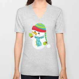 Snowman With Hat, Carrot Nose, Scarf, Gloves Unisex V-Neck