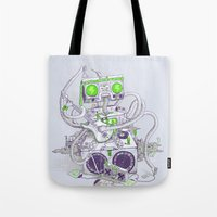 hippy Tote Bags featuring Hippy robot by Mathijs Vissers