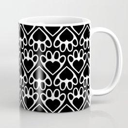 Paw Prints on my Heart - in Black Coffee Mug