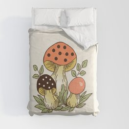 Retro 70's Cottage Core Mushroom  Comforters