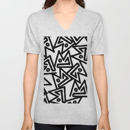 Abstract hand painted black white geometrical pattern Unisex V-Neck