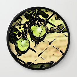 Passion Fruit in green Wall Clock