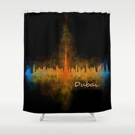 Dubai, emirates, City Cityscape Skyline watercolor art v4 Shower Curtain