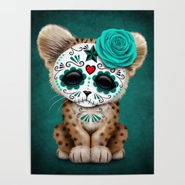 Blue Day of the Dead Sugar Skull Leopard Cub Poster
