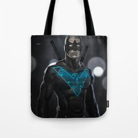 nightwing Tote Bags featuring Nightwing 02 by Yvan Quinet