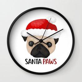 Christmas Pug   Santa Paws Wall Clock