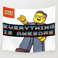 Kirby Krackle -Everything Is Awesome! (Lego style shirt) Wall Tapestry