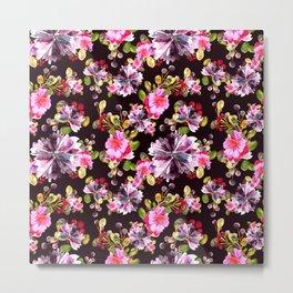 Watercolor floral bouquet on dark Metal Print