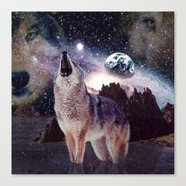 Wolf in the moon howling at the earth Canvas Print