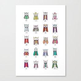 Hypnotized by 20 owls Canvas Print