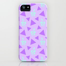 Crawling snakes silhouettes and abstract triangle shapes. Stylish classy whimsical artistic lilac purple retro vintage geometric animal nature pattern. Reptiles. Geometry. iPhone Case