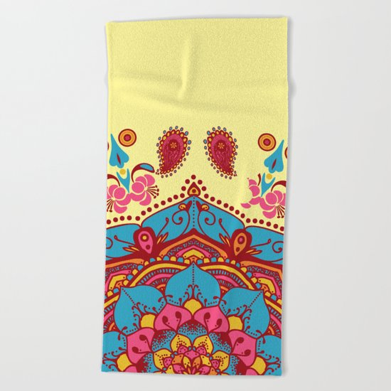 Frondescence Mandala Blue & Pink On Yellow Beach Towel