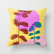 Homefry - floral neon memphis dots grid pink sunset sunrise 1980 1980s 1980's 80s 80's throwback art Throw Pillow