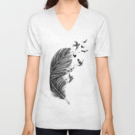Feather Birds BW Unisex V-Neck