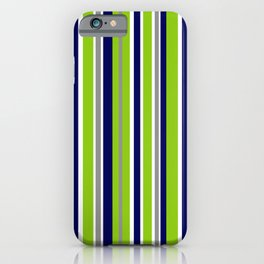 Lime Green Bright Navy Blue Gray and White Vertical Stripes Pattern iPhone Case