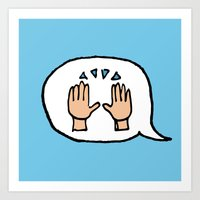 Hand-drawn Emoji - Hands Raised Up In Cheer Art Print