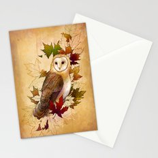 Autumn Barn Owl Stationery Cards