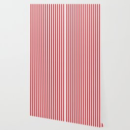 Vertical stripes - red and white Wallpaper