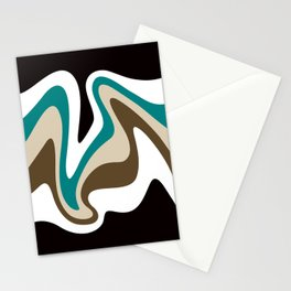 Liquid Mountain Abstract //Teal, Khaki Tan, Dark Brown, Black and White Stationery Cards