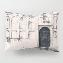 Mughal Indian Black and White Architecture in Red Fort, New Delhi Pillow Sham