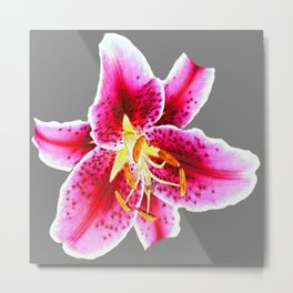 GREY FUCHSIA PINK ASIATIC LILY FLOWER  ABSTRACT ART Metal Print
