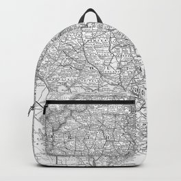 Vintage Map of The Carolinas (1891) BW Backpack