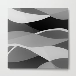 Gray and Pewter Waves Metal Print